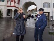 Sandra Affolter und Roland Furrer vom Co-Präsidium Christkindli Märt Willisau. (Bild: Hannes Bucher, 9. Dezember 2018)