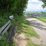 Das alte und das neue Bänklein auf Giblen. Hinten ist Dietschwil zu sehen. Dahinter Kirchberg, das in rund zwei Kilometer Luftlinie Entfernung liegt. (Bild: Beat Lanzendorfer)