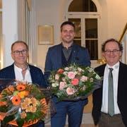 Der Vize-, der neue und der ehemalige Parlamentspräsident: Roland Bosshart, Marc Flückiger und Luc Kauf (von links nach rechts). Bild: Nicola Ryser