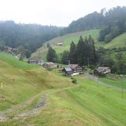 Im Vordergrund der Weiler Hönenschwil, dessen Bild von den Tätschhäusern geprägt wird. Links im Hintergrund befindet sich der Büsi-Hof. (Bild: Urs M. Hemm)