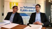 Stehen hinter der Umzonung: Gewerbevereinspräsident George Floros (links) und Flawa-CEO Nicolas Härtsch. (Bild: Andrea Häusler)