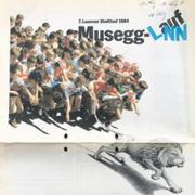 «Dem schnellen Löwen auf der Spur» – Inserat in der LNN zur 7. Ausgabe des Musegglaufs im Jahr 1984. Und es wirkte offenbar: Das erste Mal konnten die Organisatoren über 3000 Anmeldungen verzeichnen. (Bild: PD/Verein Luzerner Stadtlauf)