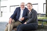 Jacqueline Theiler und ihr Vater Georges Theiler: Sie will für die Luzerner FDP in den Nationalrat, er hatte dieses Amt 16 Jahre lang inne. (Bild: Manuela Jans-Koch, Luzern, 11. August 2019)