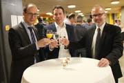 Marc Mächler, Ivan Louis (SVP-Kantonsrat und Präsident Verein Campus Wattwil) und Stefan Kölliker (von links). (Bild: Martin Knoepfel)