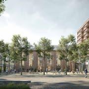 So soll das EWL-Areal künftig aussehen, in der Mitte der Quartierplatz mit dem Roten Haus im Hintergrund, rechts Wohnbauten der ABL. (Visualisierungen: PD)