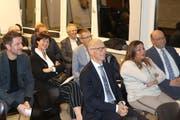 FDP-Mitgliederversammlung im Feuerwehrdepot. Auf dem Bild zu erkennen in der ersten Reihe recht Beat Tinner und links Stadtpräsident Thomas Scheitlin. Dahinter in der zweiten Reihe Stadtparlamentspräsidentin Barbara Frei. (Bild: FDP/Thomas Percy - 30. Oktober 2019)