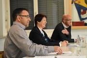 Mario Ammann, Moderatorin Sabine Schmid und Christian Rufer (von links). (Bild: Urs M. Hemm)