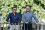 Herbert Imbach (parteilos, links) und Martin Waldis (SVP) kämpfen weiter um das Gemeindepräsidium. (Bild: Dominik Wunderli, Vitznau, 10. Juni 2018)