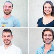 Das Team von «eifach-mache.ch» (von oben links im Uhrzeigersinn): Adrian Jäggi, Lisa Berchten, Sahil Oza und Marc Jäggi. (Bilder: Maria Schmid, Zug, 17. September 2019)