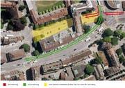 Das gelb markierte Gebiet soll dank der Y-Lösung (grüne Pfeile) beruhigt werden. (Visualisierung: Stadt Luzern)