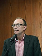 An seiner zweitletzten Kirchgemeindeversammlung: Präsident Lukas Leutenegger. (Bild: Mathias Frei)