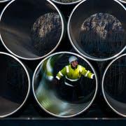 Ein Mitarbeiter prüft tonnenschwere Rohre für die zukünftige Ostseepipeline Nord Stream 2 auf einem Lagerplatz im deutschen Mukran. (Jens Büttner/Keystone, 16. Dezember 2016)