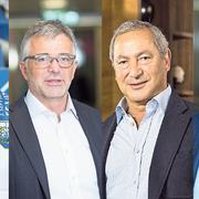 Die Protagonisten im Streit um die Swisspor-Arena beziehungsweise um den FCL (von links): Bernhard Alpstaeg, Marco Sieber, Samih Sawiris, Hans Schmid.