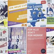 Die Flyer der Parteiendes Kanton Luzern im Vergleich. Die Bilder habe ich im Auftrag der Luzerner Zeitung fotografiert. Nutzung durch Dritte ist nicht erlaubt/nur in Ruecksprache mit der Zeitung oder dem Fotografen erlaubt.