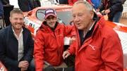 Christian Schmid (Bergrennen Hemberg), Alexander Lienhard mit Vater und Unternehmer Fredy Lienhard. (Bild: Margrith Pfister-Kübler)