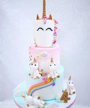 Pastellfarbene Geburtstagstorte mit Einhornverzierungen. (Bild: PD)