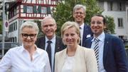 Der aktuelle Frauenfelder Stadtrat: Vizepräsidentin Christa Thorner (SP), Ruedi Huber (SVP), Elsbeth Aepli (CVP), Stadtpräsident Anders Stokholm (FDP) und Urs Müller (Chrampfe & Hirne). (Bild: Mathias Frei)