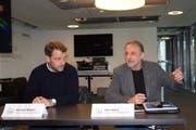 Verwaltungsratspräsident Maurice Weber und Mediensprecher Dani Wyler informieren über das Projekt. (Bild: Gianni Amstutz)