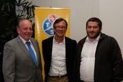 TCS-Präsident Andreas Rösli mit den beiden neu gewählten Vorstandsmitgliedern Ronnie Hürlimann, Buochs, und Roman Huber, Emmetten (von links). (Bild: Richard Greuter, Stans, 28. März 2019)