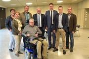 Der Weinfelder Gemeinderat mit Max Vögeli in der Mitte. Walter Strupler (vorne) tritt als einziger nicht mehr zur Wahl an. (Bild: Mario Testa)