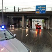 Vor allem in Frauenfeld gingen starke Regenfälle nieder. (Bild: Kapo/Mario Christen)