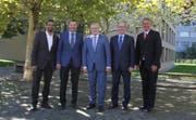 Der Emmer Gemeinderat in seiner neuen Zusammensetzung (von links): Brahim Aakti, Josef Schmidli, Rolf Born, Thomas Lehmann und Patrick Schnellmann. (Bild: PD (Emmen, 26. September 2018))
