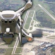 Drohnen stören auch in Zürich immer wieder den Flugverkehr. (Bildmontage: watson/keystone)