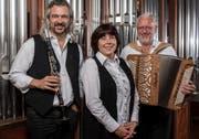 Dani Häusler, Maryna Burch und Willi Valotti (von links): Drei Musiker laden zum dritten Konzert-Programm ein. (Bild: PD)