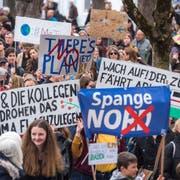 Klimademo in der Stadt Luzern.Fotografiert am 6. April 2019 in Luzern