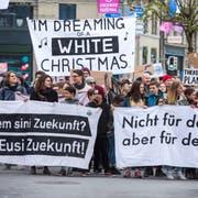 Forderungen an die Politik: Klima-Demo in Luzern. (Bild: Dominik Wunderli, 6. April 2019)