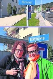 Aus Martinsweg wird Martina weg: Melanie Haunsperger (links) und Yvonne Stojanovic Luterbacher in Aktion. (Bild: PD)