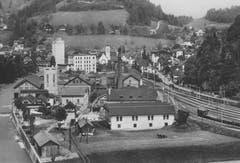 Fabrikgelände von Walzmühle um 1940 in Wolhusen. (Bild: Armin Wey/ Wolhuser Forum)