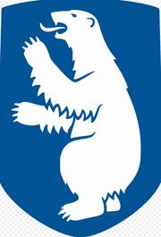 Weisser Bär auf blauem Hintergrund. Das Wappen von Grönland. (Bild: Wikipedia)