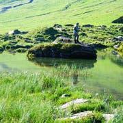 Der Blausee ist auch ein Paradies für Fischer. (Bild: Romano Cuonz (Melchsee-Frutt, 12. Juli 2018))