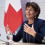 Bundesrätin Doris Leuthard an der Pressekonferenz zu ihrem Rücktritt. (Key/Antony Anex (Bern, 27. September 2018))