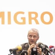 Fabrice Zumbrunnen, Präsident der Migros-Generaldirektion, an der Pressekonferenz. (Bild: Ennio Leanza/Keystone, Zürich, 27. Juni 2019)