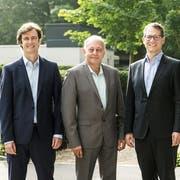 """Die Gründer von """"Swiss Skies"""" (von links): Harald Vogels, Philippe Blaise, Armin Bovensiepen and Alvaro Oliveira beim Presse-Event am 14. September 2018 in Basel. (KEYSTONE/Alexandra Wey)"""