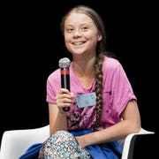 Swedish climate activist Greta Thunberg reacts during a press conference of the « Fridays For Future Summit » at the University of Lausanne, UNIL, in Lausanne, Switzerland, Monday, August 5, 2019. More than 450 participants from 37 different countries will meet in Lausanne, Switzerland, from 5 to 9 August for the summer gathering of the « Fridays for Future » movement. (KEYSTONE/Jean-Christophe Bott)