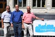 Stadtrat Daniel Stutz, Energiebeauftragter Stefan Grötzinger und Stadtrat Daniel Meili wollen bis 2022 das Label Energiestadt Gold erreichen.