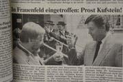 In der «Thurgauer Zeitung» vom 4. Juni 1988: Bericht von der Ankunft der Kufsteiner Delegation in Frauenfeld am Vortag. (Bild: Mathias Frei)