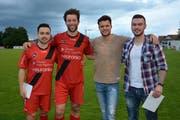 Dani Luis, Robin Früh, Christoph Gebert und Denis Mlinaric wurden nach dem Spiel verabschiedet (von links). (Bild: Beat Lanzendorfer)