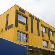 Aussen gelb, innen bunt: Der markante Lattichbau auf dem Güterbahnhof-Areal fasst 45 Holzmodule, die alle vermietet sind. (Bild: Hanspeter Schiess)