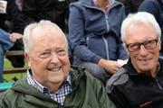 Remigi Blättler (links) mit Werner Keller, ebenfalls alt Regierungsrat, am Allwegschwinget 2015. (Bild: Robert Hess, Ennetmoos, 6. September 2015)