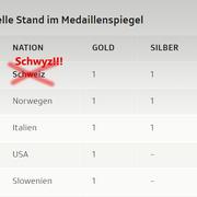 Das komplette Medaillenset nach der Abfahrt der Frauen. Bild: Bote der Urschweiz