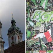Identifikationsstiftung der unterschiedlichen Art: Die St.Galler Kathedrale und der Espenblock. (Bilder: Urs Jaudas/Urs Bucher)