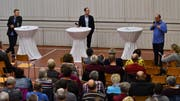 Thomas Schnyder (l.) und Raphael Rechsteiner (r.) stellten sich den Fragen von Podiumsleiter Philipp Gemperle. (Bilder: Manuel Nagel)