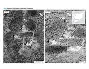 Das Areal vor und nach dem Angriff. (Bild: EPA)