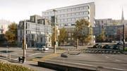 So könnte die Verzweigung Rosenberg- und St.Leonhard-Strasse mit der sanierten Villa Wiesental und dem neuen Bürohaus dahinter aussehen. (Illustration: PD/HRS Real Estate AG)