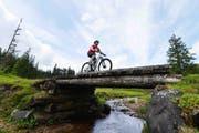 Ein Biker unterwegs im Glaubenberg-Gebiet. (Bild: Christian Perret)