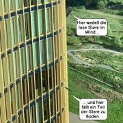 Die schwarze Store flatterte zuerst im Wind... bevor sich Teile davon lösten und zu Boden fielen. (Screenshot: Leservideo Zuzana Ecker, Luzern, 25. April 2019)